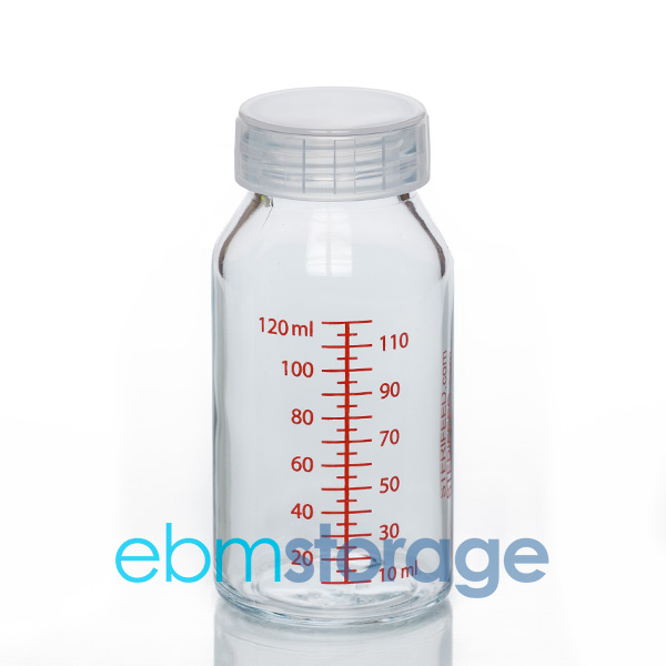 Sterifeed 120ml glass breast milk bottle